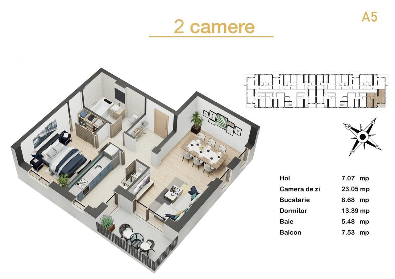 Direct Dezvoltator - Apartament 2 camere de vanzare Sibiu - Dedeman
